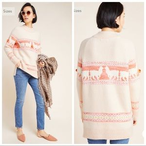 ANTHROPOLOGIE Aimee Pommed Alpaca Sweater Llama